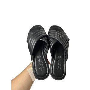 Mila Paoli Black Quilted Leather Slides Size 7.5 N